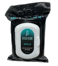 "AXE On-The-Go Deodorant Wipes ""Apollo"" Scent 25 count / NEW - $9.00"
