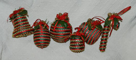 6 BEAUTIFUL RED, GREEN & GOLD BEADED ORNAMENTS! DIFFERENT SHAPES! - $18.49