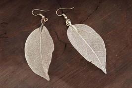 Real Leaf Earrings Statement Jewelry Sterling Silver Boho Earrings Silve... - $16.00