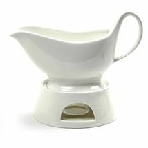 Gravy Sauce Boat  Holder Serve 16oz Capacity Porcelain w/ Candle Warmer NEW - $36.69