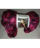 LW2785 Ribbons Ball of Yarn Red Heart Boutique Rose Bud Pink Red Black  - $8.99