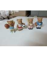 """Sports Bears , Porcelain , Set of 4 , 2.5"""" High , Vintage , Collectible ... - $7.92"""
