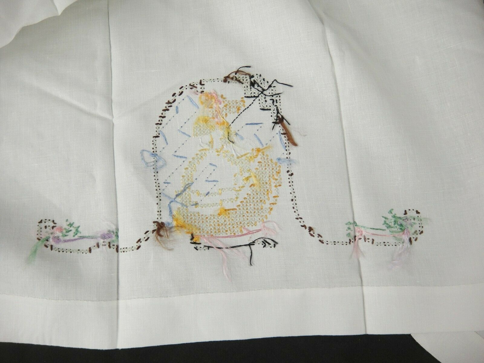 Vintage Hand Embroidered Tea Towels April Showers May Flowers Girl in Garden image 5