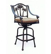 Patio palm tree cast aluminum barstool set of 8 outdoor swivel bar stools Bronze image 3