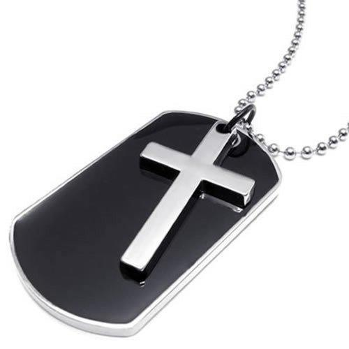 SHIP BY USPS KONOV Army Style Dog Tag Cross Pendant Mens Necklace, Color Black S