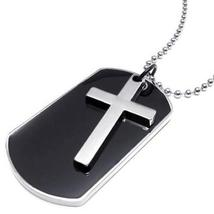 SHIP BY USPS KONOV Army Style Dog Tag Cross Pendant Mens Necklace, Color... - £25.79 GBP