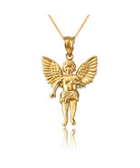 14K Yellow Gold Cherub Guardian Angel Small Pendant Necklace - $164.99+