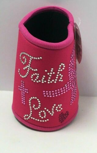 "Primary image for Novelty Breast Cancer Awareness Pink Foam Neoprene Can Insulator ""Faith Love"""