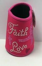 "Novelty Breast Cancer Awareness Pink Foam Neoprene Can Insulator ""Faith Love"" - $6.65"