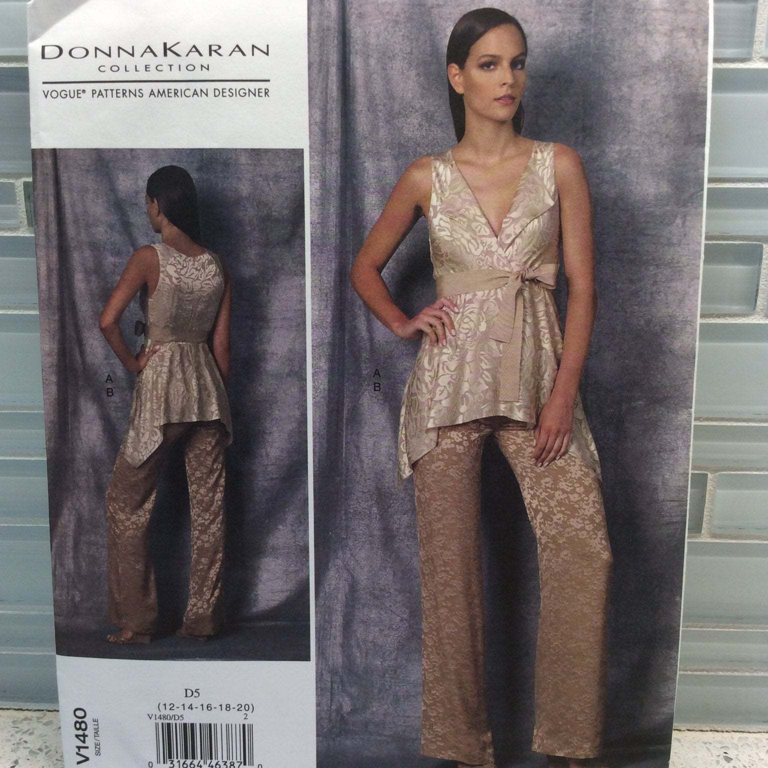 Vogue Sewing Pattern DKNY Donna Karan V1480 D5 12 14 16 18 20  Top and Pants