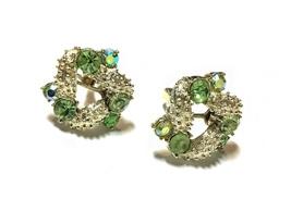 1950s Signed Coro Aurora Borealis Cluster Clip Earrings - $19.95