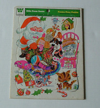 vintage 1974 colorful  gifts from santa frame tray puzzle whitman brand  - $19.75