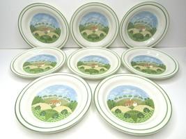 """8 VTG Sangostone 3645 Country Cottage Sango 6 1/2"""" Saucer Plates Farmhou... - $29.37"""