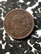 1927 Ungarn 2 Füller (9 Erhältlich) in Umlauf Gebracht (1 Münze) - $4.00