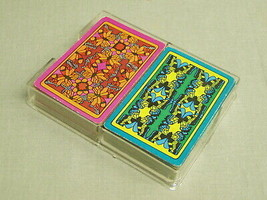 Vintage Whitman Playing Card Set psychedelic butterfly design 2 decks complete - $14.25