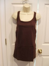 NEW IN PKG NEWPORT NEWS EXPRESSO BROWN  100% COTTON SLEEVELESS TUNIC TOP... - $14.84