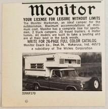 1970 Print Ad Monitor Pickup Truck Camper Tops Wakarusa,Indiana - $9.78