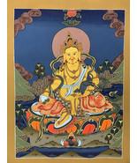 Hand-painted Kubera, Jambala, God of Prosperity, Thangka Art on Canvas 1... - $75.09