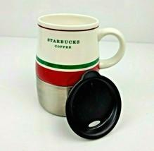 Starbucks Travel Mug Red Green Stripe Stainless Steel & Ceramic Lid 14 oz. 2006 - $12.99