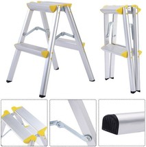2 Step Aluminum Folding Ladder Multi Purpose Safety Platform Stool Heavy... - $43.15