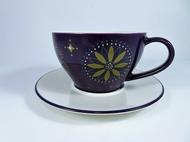 Starbucks Large Cup & Saucer 12 Ounce Holiday 2006 Purple Gold Teal White      - $27.58