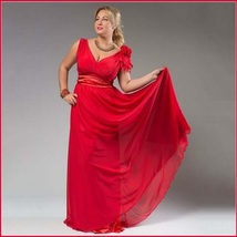 Chiffon Formal Ankle Length Sleeveless Empire Waist V Neck Red Evening Gown - $119.95