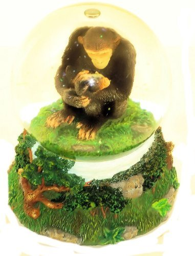 "San Francisco Music Box Company - Mom and Baby Chimp Water Globe - Plays ""Unchai"