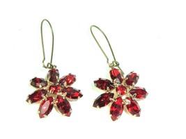 Vtg Red Rhinestone Dangle Earrings Flower Boho Mod * Gold Tone Statement  - $23.71