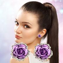 Women Fashion Jewelry Lady Elegant Crystal Rose Flower Ear Stud Earrings... - $7.90