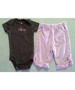 "Girl's Sz 3 M Months 2 Piece Carter's Outfit ""Mommy Adores Me"" Top, Flor... - $7.25"