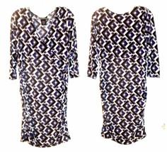 Size L - Attention Purple, Black & White Geometric Print Stretch Dress - $28.49