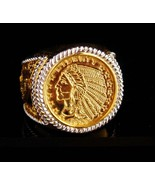Indian Head Coin ring - vintage replica five dollar coin - 24kt gold pla... - $185.00