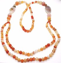 Long necklace 100 CM, 1 Meter Red Agate and Brown, Oval Spheres, double wire image 2