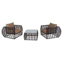 Patio Bistro Set 2 Curved Chairs Table 3pc Garden Furniture Aluminium W ... - €574,46 EUR