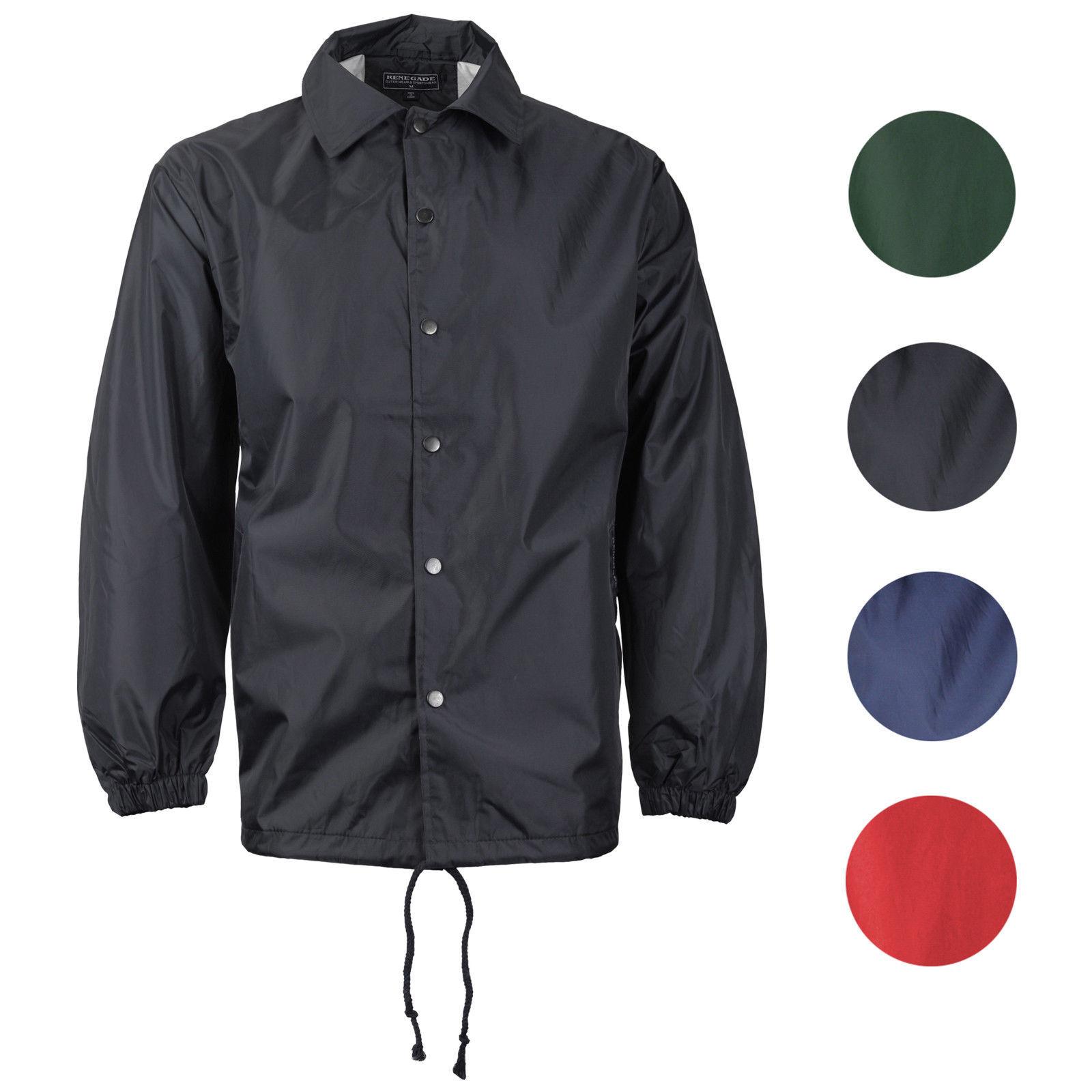 Renegade Men's Lightweight Water Resistant Button Up Windbreaker Coach Jacket