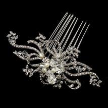 Silver Freshwater Pearl & Swarovski Crystal Floral Swirl Prom Birdal Hai... - $75.95