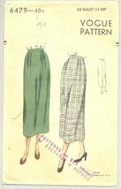Vogue Sewing Pattern 6479 1940's Misses Skirt 24-34 Waist - $17.81