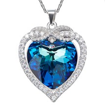 The Blue Love Heart of the Sea Cute Owl Necklace 925 Sterling Silver Nec... - $69.95