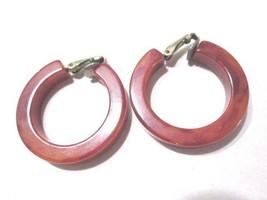 Orange Dark Brown Marbled Hoop Earrings Clipon Bakelite Tests Positive Vintage - $18.00