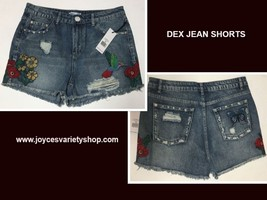 DEX Jean Shorts Embroidered Hummingbird Floral Distressed Sz 28 image 1