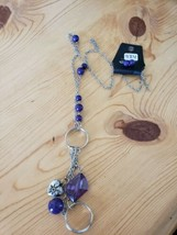 984 Silver W/ Purple Beads Necklace Set (New) - $7.61