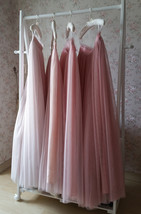 Wedding Bridesmaids Maxi Tulle Skirt Outfit, Baby Pink Blush Pink Rose P... - $49.99