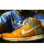 NIKE basketball size 12 BROWN Orange grey white WORK SHOES - $28.99