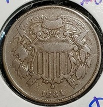 1864 Two Cent Small Motto Piece Better Date Coin Lot# Ev3426 image 1