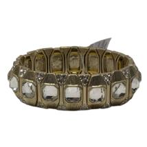 Lia Sophia Purple Gold Tone Clear Crystals Stretch Bracelet Kensington Glamour - $17.81