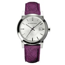 Burberry Ladies Purple Leather Strap Silver Dial Burberry Watch BU9122 - $259.95