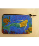 "mermaid back & sea turtles change purse phone bag 3""x 5"" - $15.95"