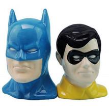 DC Comics Classic Batman and Robin Heads Ceramic Salt and Pepper Shakers... - $25.15