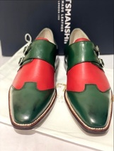 Handmade Men's Green & Red Double Buckle Monk Strap Leather Shoes image 3