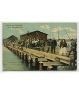 Fishing on the Docks St Petersburg Florida 1910c postcard - $7.43